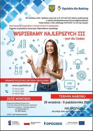 Wspieramy najlepszych III - program sypendialny Samorządu Województwa Opolskiego